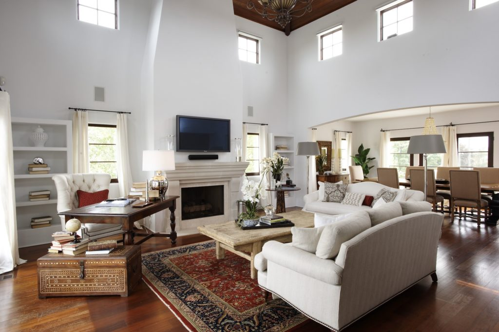 Coastal Mediterranean Living Room in Westport, CT.  Traditional Home Staging designed by Kim Cavalier Staging & Design
