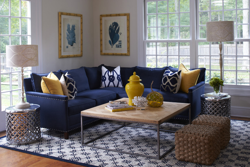 Coastal Connecticut Family Room in Westport, CT.  Home Staging designed by Kim Cavalier Staging & Design