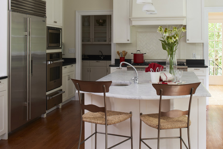 Classic Contemporary Kitchen in Westport, CT.  Home Staging designed by Kim Cavalier Staging & Design