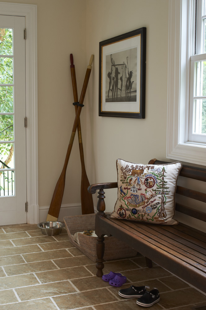 Mudroom Staging in Westport, CT.  Home Staging designed by Kim Cavalier Staging & Design