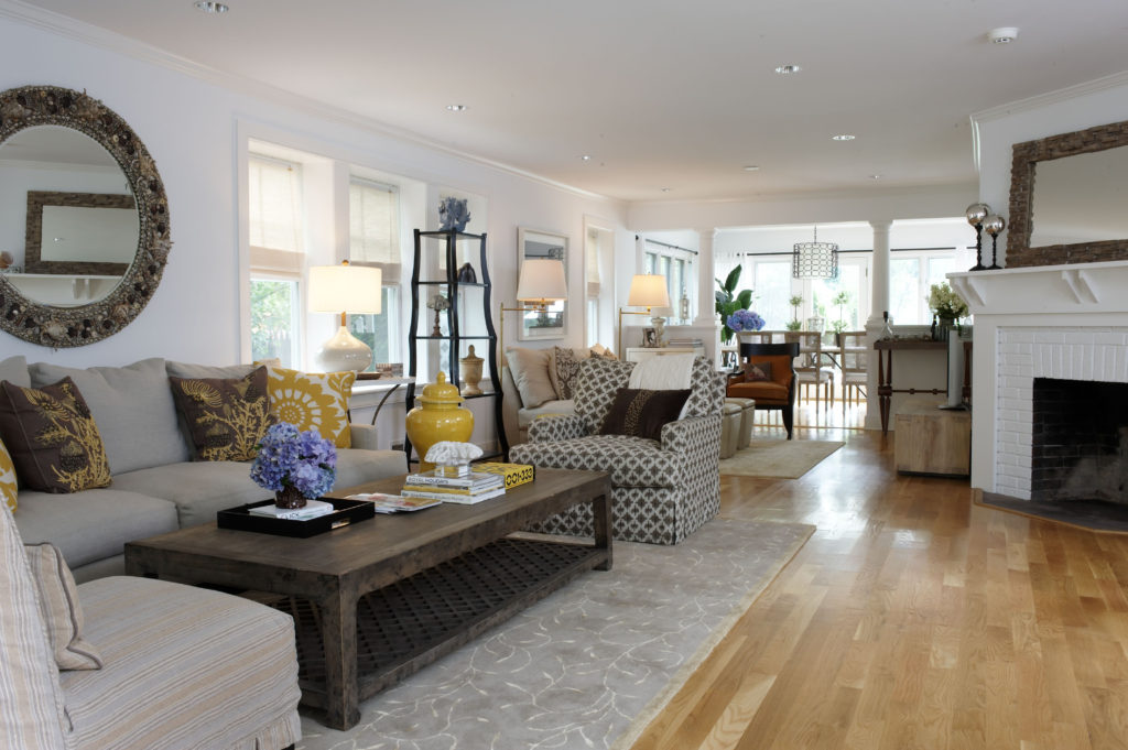 Coastal Beach House Living Room in Westport, CT.  Home Staging designed by Kim Cavalier Staging & Design