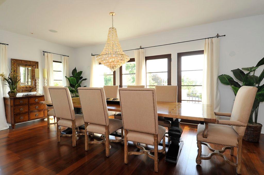 Coastal Mediterranean Dining Room in Westport, CT.  Home Staging designed by Kim Cavalier Staging & Design