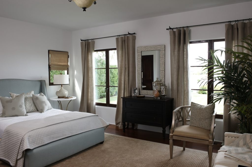 Coastal Mediterranean Bedroom in Westport, CT. Home Staging designed by Kim Cavalier Staging & Design