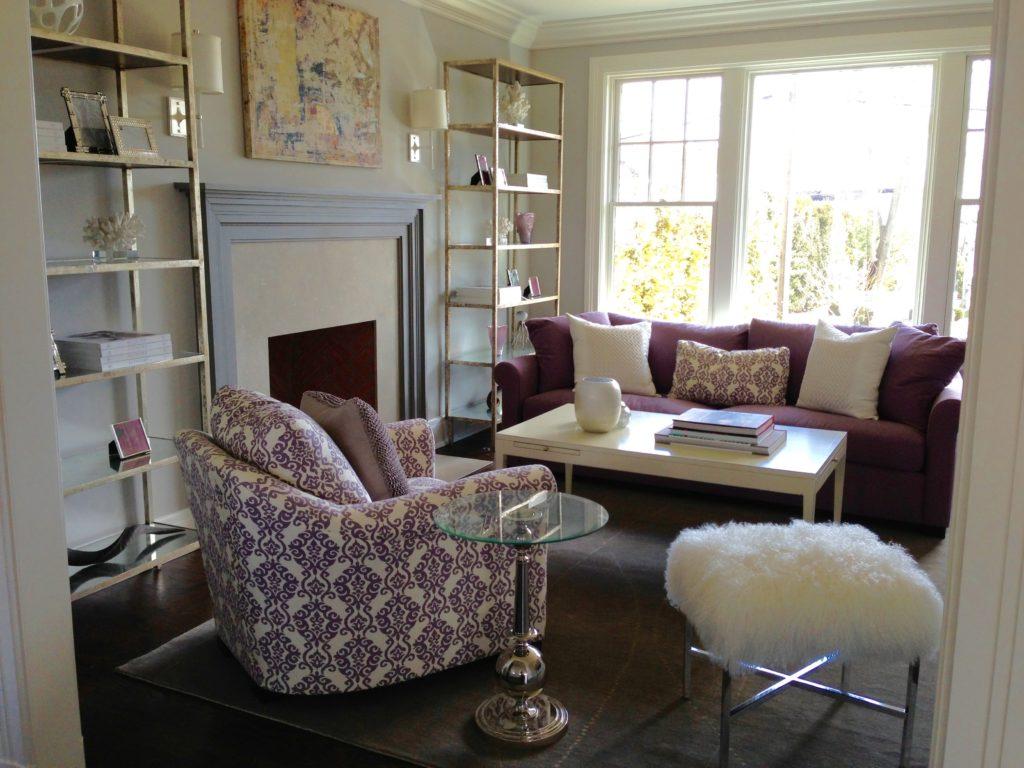 Modern Glamour Living Room in Westport, CT.