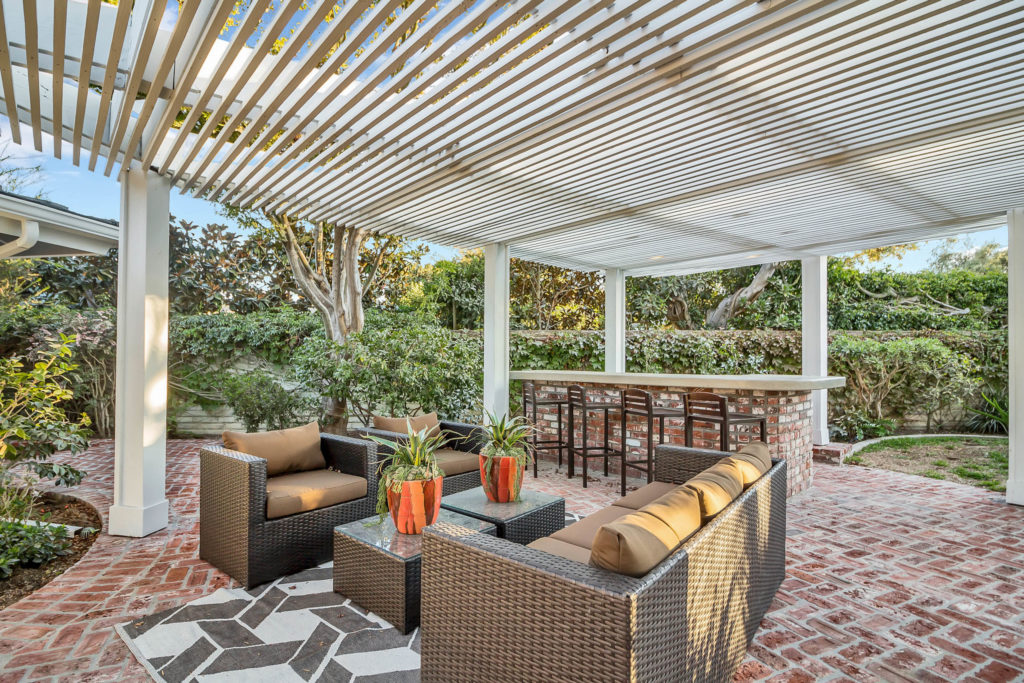 Patio under the Pergola in Costa Mesa, CA. Home Staging designed by Kim Cavalier Staging & Design